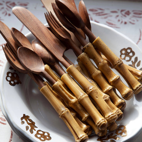 4-Piece Bamboo/Wood Picnic Cutlery