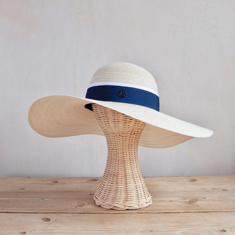 Blanche Hat, Natural Canapa Straw with Navy Band