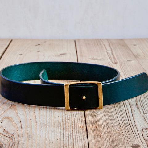 Bridle Leather Belt, Dark Green, 1.75""