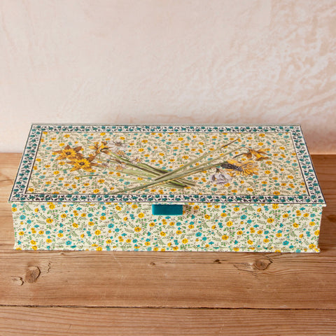 Yellow Daffodil Decoupage Box with Hinged Lid