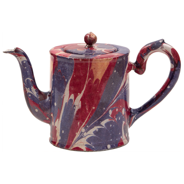 Blue and Red Marble Small Teapot