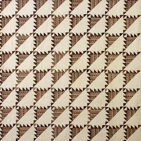 Early Sawtooth Cream and Brown Quilt; Sawtooth, Pennsylvania; c.1840