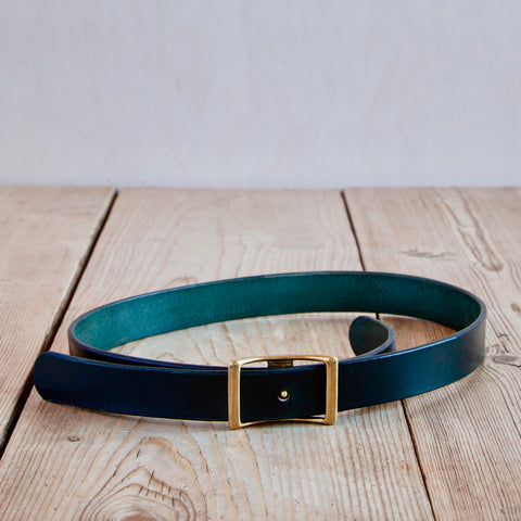 Bridle Leather Belt, Dark Green, 1.25""