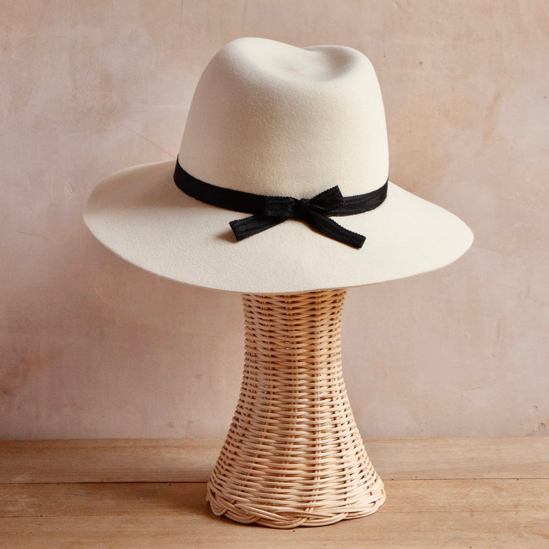 Virginie Hat, Black Bow on Pearl Felt