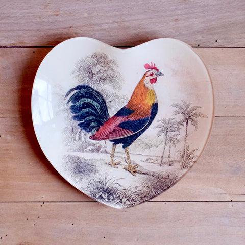 "Gallus Gallus, 8"" Heart Dish, Hand Blown Glass"