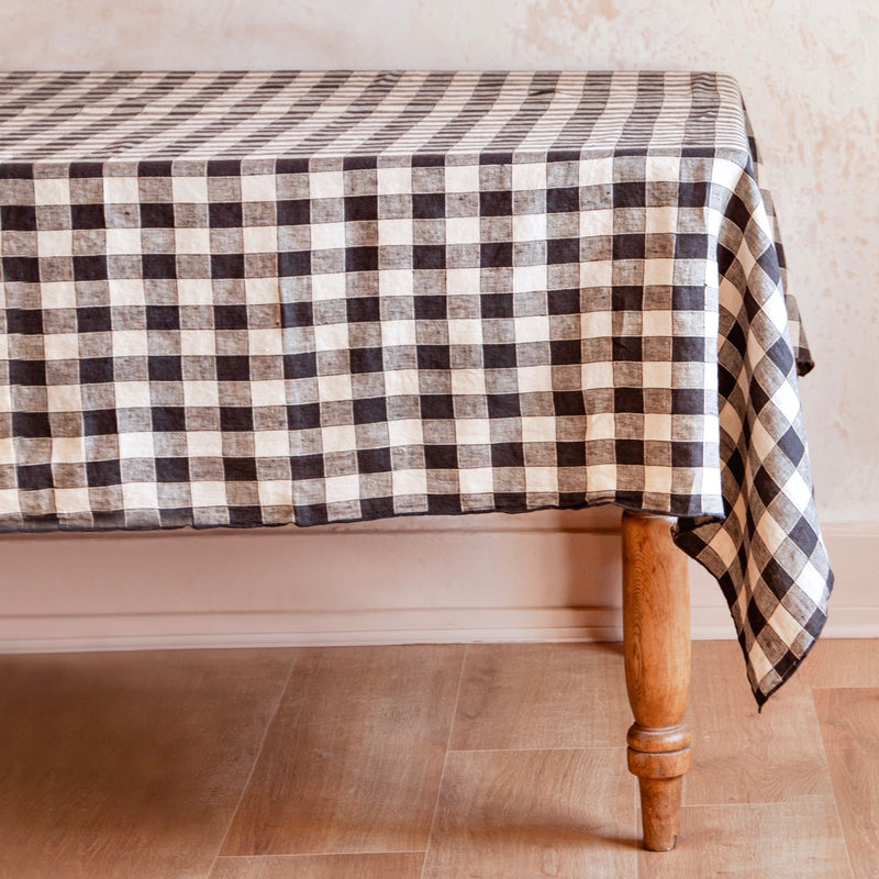 Vintage Checkerboard Tablecloth, Fusain