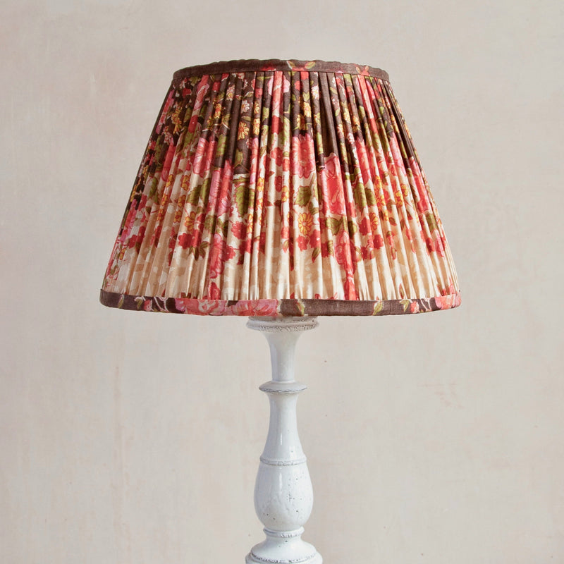 Pink, Brown and Yellow Silk Gathered Lampshade