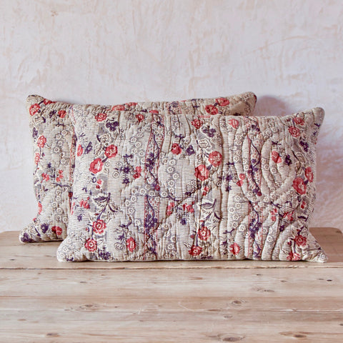 Pair of 18th Century French Block-Printed Quilted Cushion