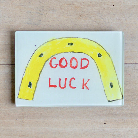 "Good Luck Horseshoe, 3.5 x 7"" Rect. Tray"