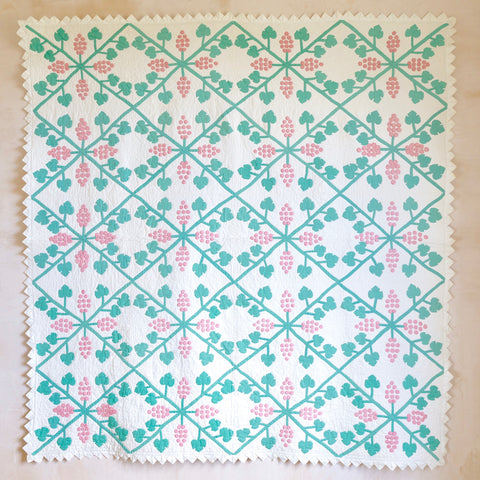 "Pink and Green ""Grapes"" Quilt, c. 1920"