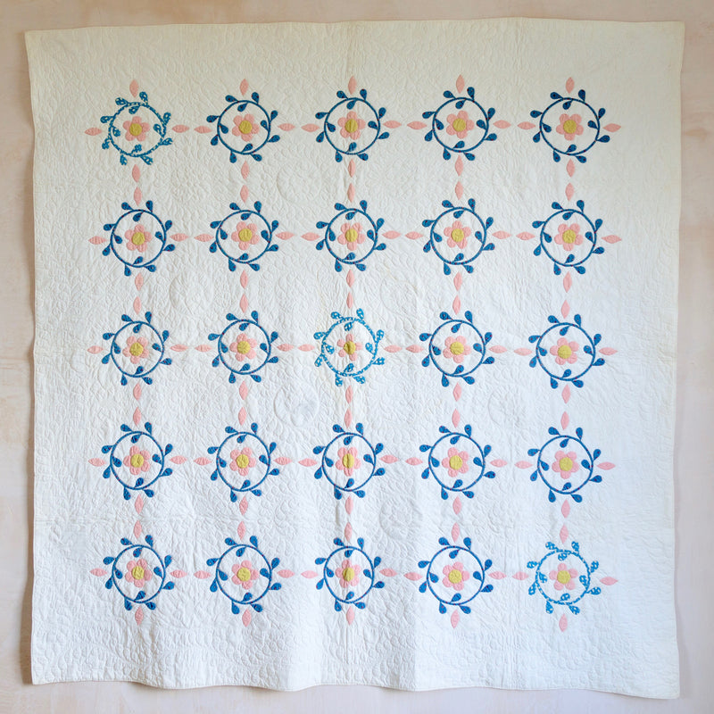 Miniature Floral Wreaths Quilt; Pennsylvania; c.1870