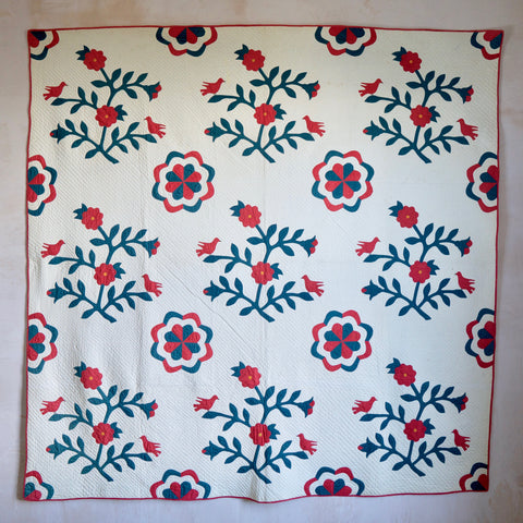 Floral Appliqué Quilt with Birds; c. 1860