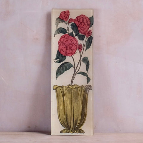 "Flower In Vase, 4.5 x 12"" Rectangular Tray"