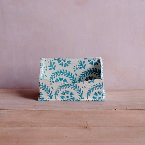 Card Holder, Teal Heart Flower