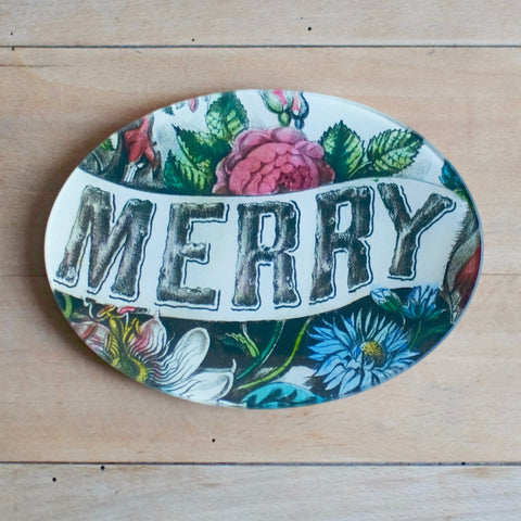 "Merry, 5x7"" Oval Tray"