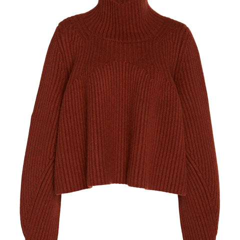 Denney Cropped T-Neck Sweater, Heavyweight Cashmere (Mahogany)