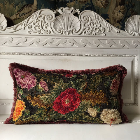 Rosebud, Antique Needlepoint Cushion