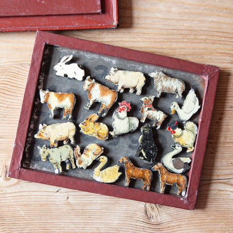 Collection of Vintage Farmyard Animal Magnets