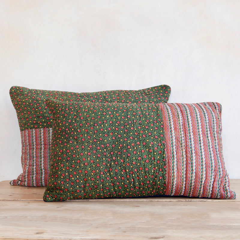 Pair of French 18th Century 'Bonnes Herbes' Block Print Cushions