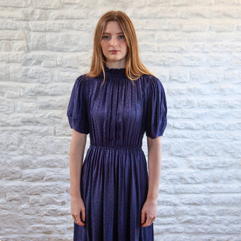 Bolonia Silk Dress, Navy
