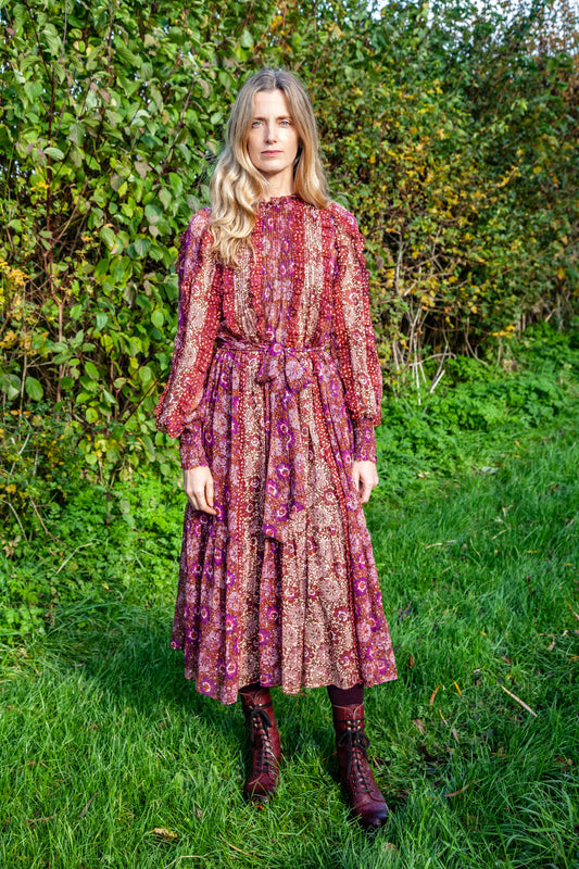 Damara Silk Dress, Claret