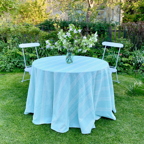 Cotton Tablecloth (Green with white stripes)