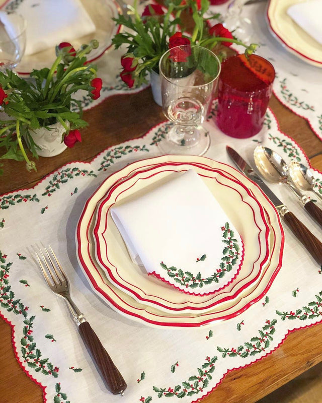 Pair of Hand-Embroidered Cotton Table Linens