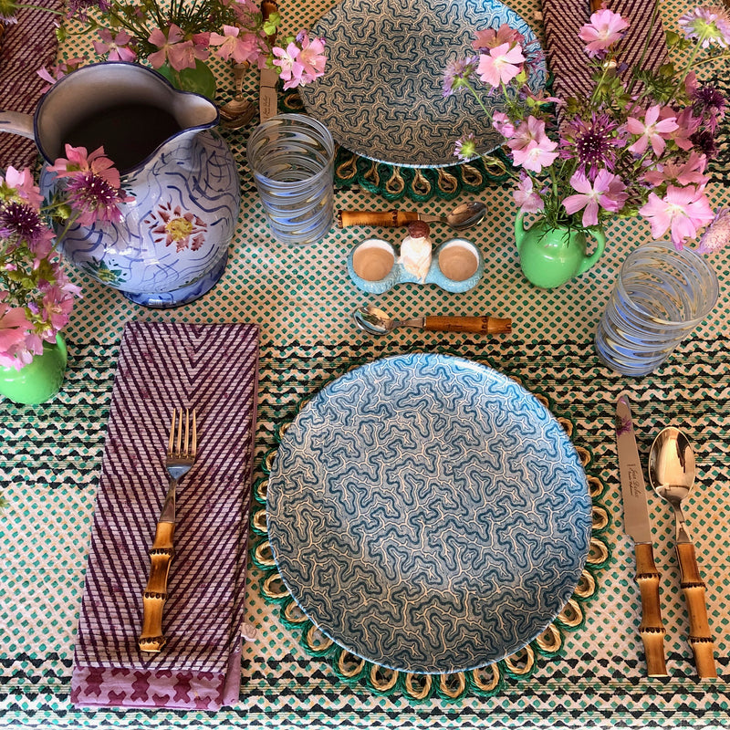 Handmade Looped Wicker Placemats (Green)