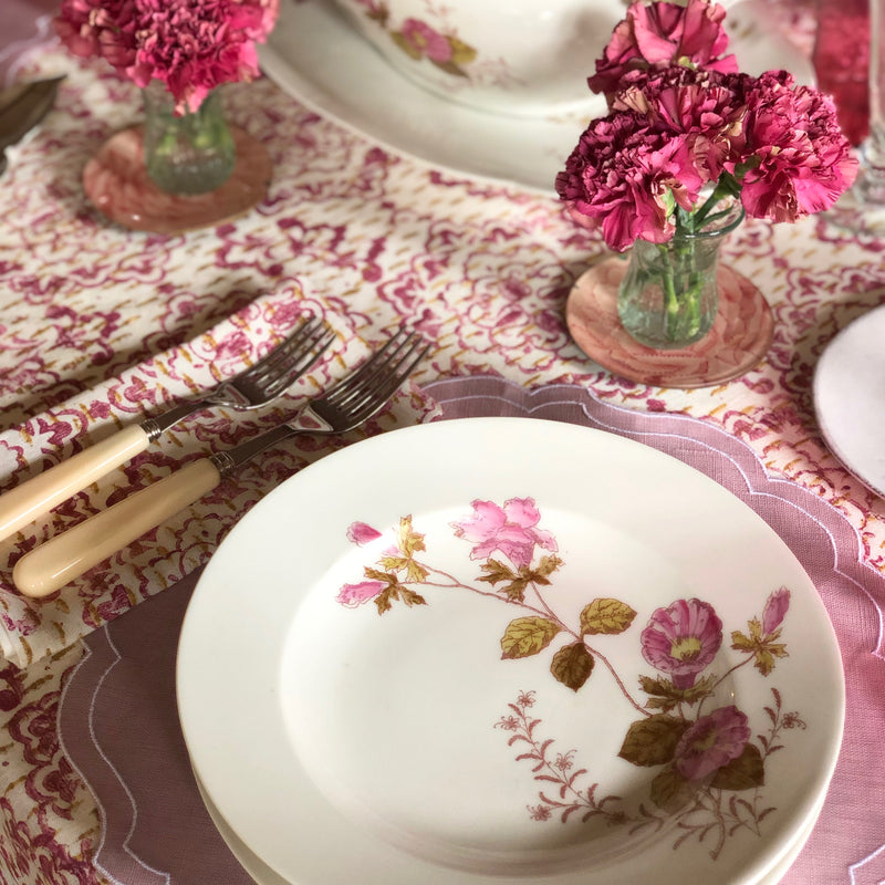 Hand Printed Table Linen (Pink & Gold)