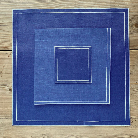 Double Line Linen Place Setting (Blu with White)