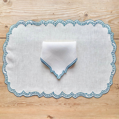 Ladder Linen Placemat (Ivory with Dark Green)