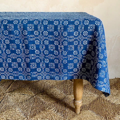 "Hand-Printed Indigo ""Welsh Blanket"" Linen Tablecloth"
