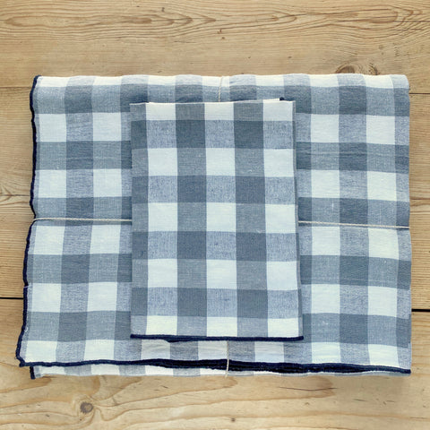 Checkerboard Tablecloth, Grey, Linen & Cotton