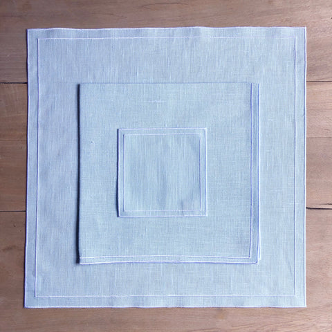 Double Line Linen Placemat (Starlight Blu with White)