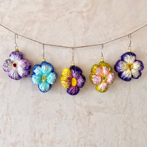 Pansy Glass Ornaments