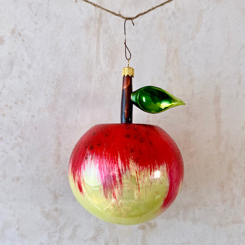 Apple With Leaf, Glass Ornament