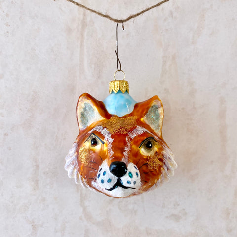 Fox Head, Glass Ornament