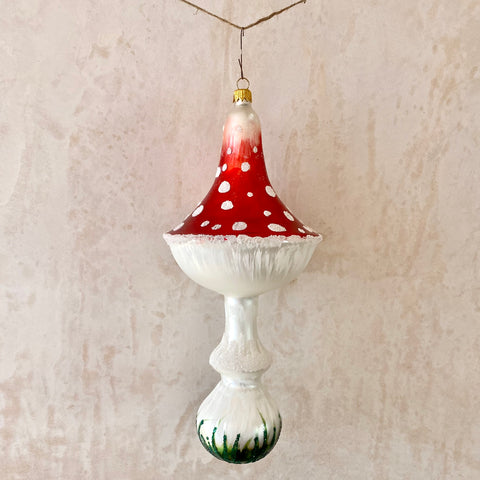 Large Toadstool Glass Ornament