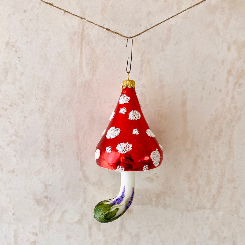 Toadstool, Glass Ornament