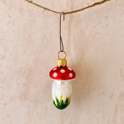 Mini Toadstool Glass Ornament