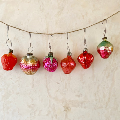 Vintage Strawberry Ornaments, Group of 6