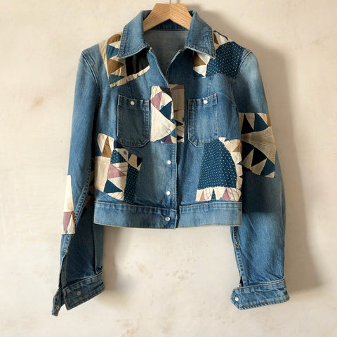 Cropped Shirt Jacket (Checkered Quilt Patchwork)