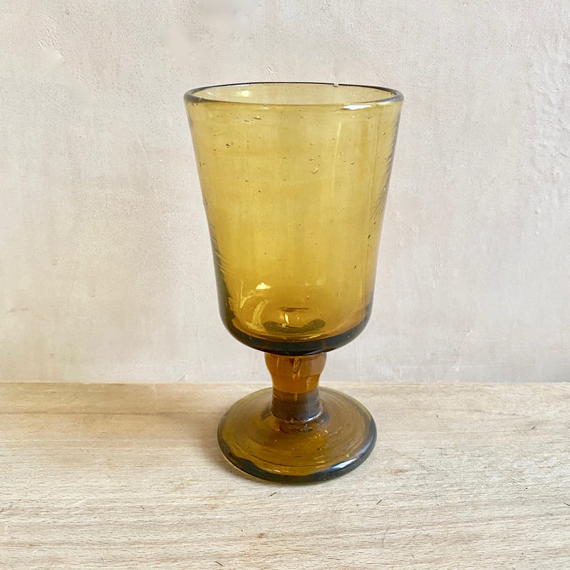 Mouthblown Syrian Goblets, Recycled Glass  (Amber)