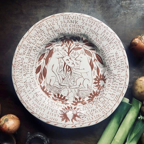 """Foxes"", Large Plate"
