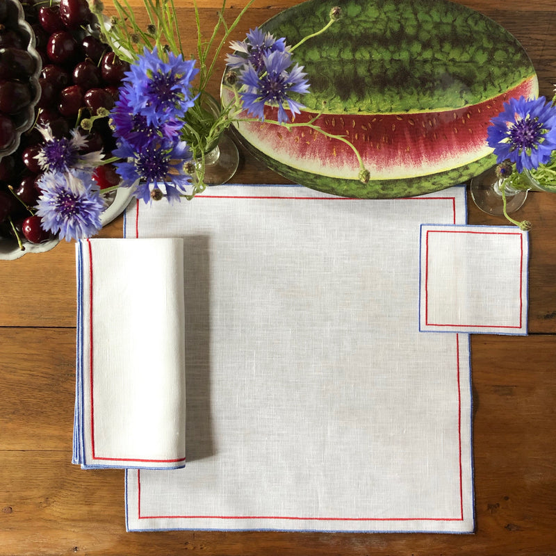 Double Line Linen Place Setting (Beige with Blue)