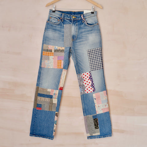 """Viva"" Jean in Checkered Quilt Patchwork"