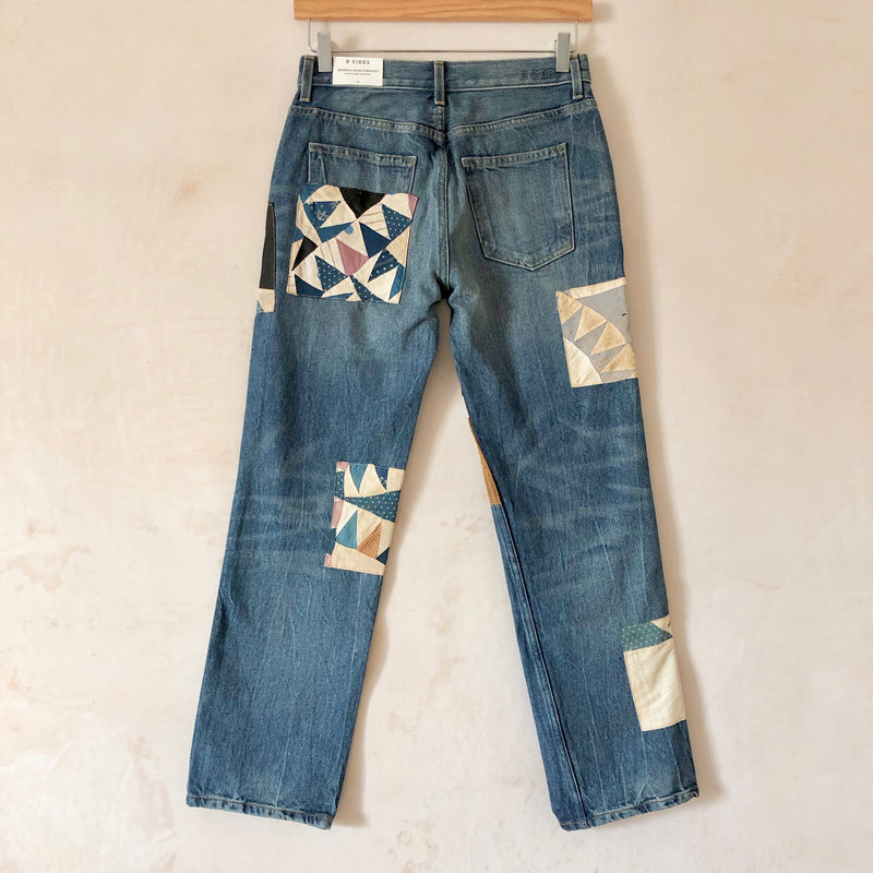 Georgia Mid High Jeans (Checkered Quilt Patchwork)