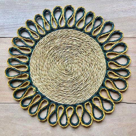 Looped Sisal Placemats (Forest & Mustard)