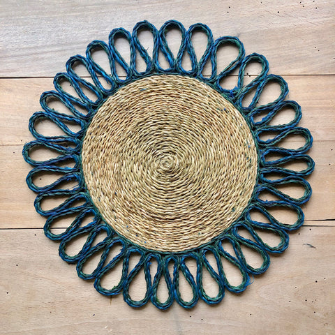 Looped Sisal Placemats (Teal & Forest)