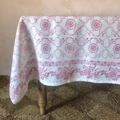 Hand-Printed Linen Tablecloth